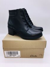 Clarks Collection Women's Hollis Jasmine Leather Lace-Up Ankle Boots Black US 8M