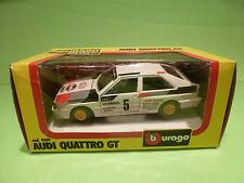 BBURAGO 9159 AUDI QUATTRO GT - RALLYE MONTE CARLO - WHITE 1:24 - GOOD IN BOX