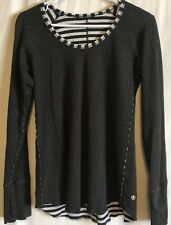 Lululemon Size 6 Women's Open Your Heart Heathered Black / Grey Striped Shirt