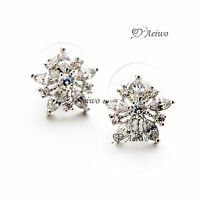 18K WHITE GOLD GF MADE WITH SWAROVSKI CRYSTAL FLOWER STUD EARRINGS