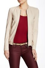 Women's MUUBAA Leather Jacket REMY Bomber Unlined Front Zipper Nude Size 4 Small