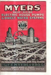 1926 Myers house pumps and water systems catalog - Ashland O; Glidden WI