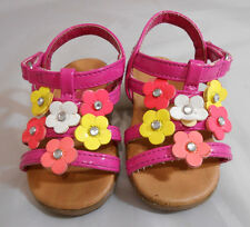 Teeny Toes Pink and Multi-Color Strappy Flower Sandal Girls Toddler Size 4