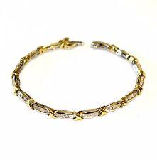 """10k yellow white gold .84ct diamond tennis bracelet 9.9g estate 6.75"""" vintage"""