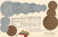 1900's VINTAGE VENEZUELA EMBOSSED GOLD & SILVER COINS & FLAG POSTCARD - UNUSED