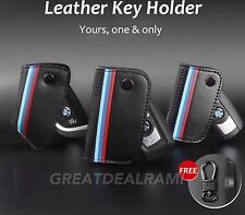 BMW Genuine Leather M-Color Stripe Pattern Leather Key Holder 1 3 4 5 6 7 Series