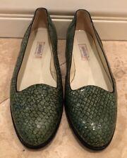 MAURI Italy Genuine Exotic Crocodile Skin Loafer Green Black Leather Soles Sz 36