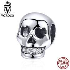 Voroco New 925 Sterling Silver Skull e Pendant Charm for Women Necklace Bracelet