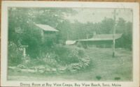 Saco, ME 1938 Postcard: Bay View Beach Camps Dining Room - Maine