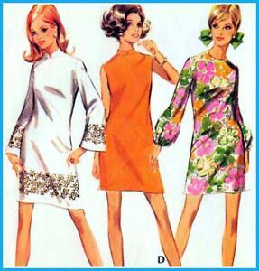 """Vintage 60s Mod DRESS Sewing Pattern Bust 36"""" 92 cm Sz 12 RETRO Revival SHIFT"""