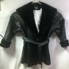 Wilsons Women's Black Leather Size L Belted Hooded Car Coat Faux Fur Lining
