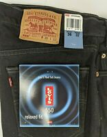Levi 550 Mid Rise Relaxed Black Jeans 36x32 Vintage 1998 Deadstock NWT Levis
