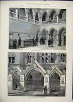 Original Old Antique Print Royal Courts Justice Judges Chamber Hall 1882 Strand