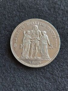1875-A France 🇫🇷 Hercules 5 Francs Large Silver Coin