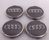 4 Pcs 61mm AUDI Gray 4M060117 Wheel Center Caps Logo Badge Hub Caps Rim Caps