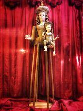Madonna Manichino Gabbia Stile '600 Vintage Wood Statua Santa 160cm occhi vetro
