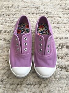 Mini Boden Girl Canvas Slip On Sneakers Shoes Purple Size EU33/US2 New