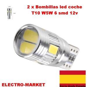 2 x Bombillas led coche T10 W5W 6 smd 12v   5630 5730 194 168  BLANCO- CANBUS