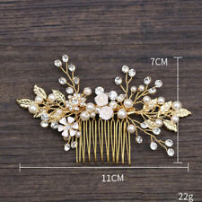 9a3990c58 Vintage Gold Crystal Pearl Leaves Flower Hair Clip Pins Wedding Prom Hair  Comb