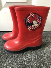 Minnie Mouse Wellies Size 7 Red Wellington Boots Girls Junior