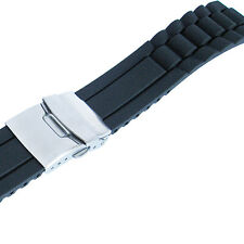 20mm deBeer 964 Mens Black Silicone Rubber Deployant Dive Watch Band Strap