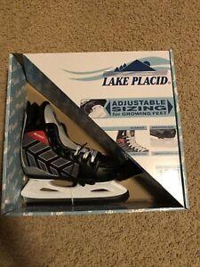 Lake Placid Black And Gray Kids Wizard Adjustable Ice Skates Sizes 13-3 Boys
