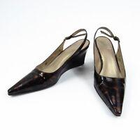 Stuart Weitzman Wedge Heels Womens Size 4 M Pointed Toe Slingback Patent Leather