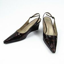 Stuart Weitzman Wedge Heels Womens Size 4 M Pointed Toe Slingback Patent Leather
