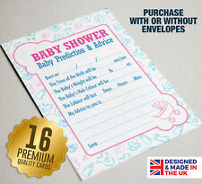 Baby Shower Prediction & Advice Party Game, 16 A6 Cards, Unisex PINK BLUE Gift