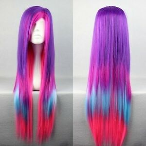 80cm Long Charm Lolita Color Mixed Straight Anime Cosplay wig Free Shipping