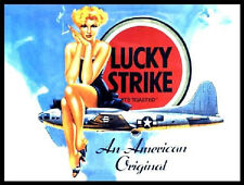 LUCKY STRIKE CIGARETTES B-17 FLYING FORTRESS PIN UP LADY SMOKING METAL WALL SIGN