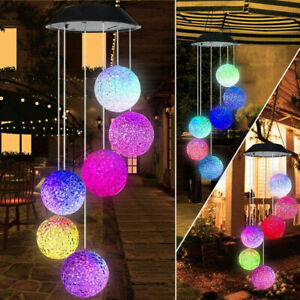 Color-Changing LED Solar Powered Mobile Wind Chime Lights Yard Garden Decor Lamp