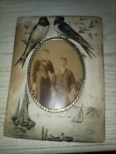 Vintage A Paper Picture Frame With birds and boats metal frame Original Picture