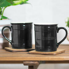 Set di 4 Mason Cash Nero Rustico tazze in grès sottili 390ml 14oz Tè Tazze da Caffè