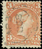 Used Canada F+ Scott #25 3c RARE VERY EARLY APR 3 DATE 1868 Large Queen Stamp