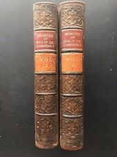 Memoirs of Philip De Commines (2 volumes) 1856 DECORATIVE LEATHER BINDING VG