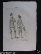 1842 ISOLE CAROLINE INDIGENI TATUAGGI COSTUMI OCEANIA D236/16