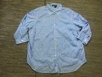Lauren Ralph Lauren Women's 2X Button Up Shirt 3/4 Sleeve Blue Pinstripe Cotton
