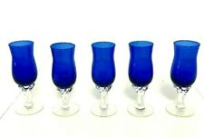 Cobalt Hand Blown Liqueur Blue Glasses Short Stemmed set of 5