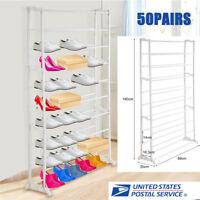50 Pair 10 Tier Space Saving Storage Organizer Free Standing Shoe Tower Rack US