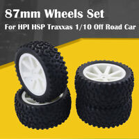 Front Rear Tires Wheels 12mm Hex For Redcat HPI HSP Traxxas 1/10 Buggy Car White
