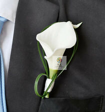 Calla Corsage flowers Rose Groom suit men Boutonniere wedding accessories decor