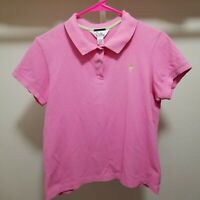 Lilly Pulitzer Polo Shirt Large Short Sleeve Top Palm Logo Pima Cotton Pink