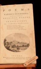 1774 Poems on Various Occasions Original and Translations Samuel Bentley Scarce