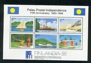 1988 Palau Souvenir sheet: Independence 5th Anniversary; SC#196; MNH & OG; CV=$4