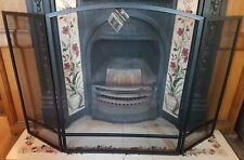 Arch Fire Screen Folding Large Black Fire Spark guard steel New Black