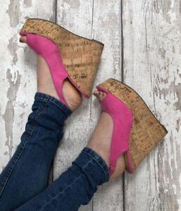 Hot Pink Wedges Size 6 Faux Suede Sling back Peep toe Cork Effect Adjustable