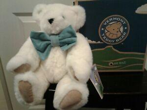 "Vermont Teddy Bear White With Blue Eyes Tan Paws Lge Lt. Blue Bow Tie 15"" NIB"