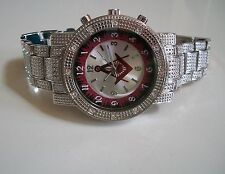 MEN'S SILVER  FINISH WITH RED MASONIC SIGN BRAND NEW BLING  FASHION  WATCH