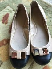 Coach Ballet Flats Slip On Shoes Size 8 Nude Pink w/ Black  Toe  and Bow